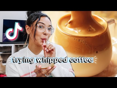 I made whipped coffee tik tok recipe! a day at home in quarantine!!