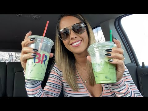 Dunkin' Donuts versus Starbucks iced matcha coffee review and comparison PLUS smoking and revving