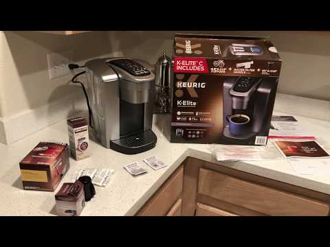 KEURIG K-ELITE C COFFEE MAKER ( INCLUDES 15 K-CUP PODS TOTAL/WATER FILTER/ REUSABLE K-CUP)UNB/REVIEW